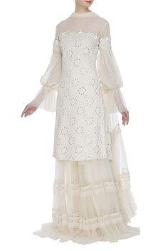 Buy Butterfly net sequin bishop sleeve kurta & gharara set by House of Kotwara at Aza Fashions Indian Designer Outfits, Indian Outfits, Designer Dresses, Sleeve Designs, Blouse Designs, Dress Designs, Sarara Dress, Gharara Designs, Aso Ebi Dresses