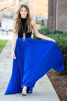 New beige pleated high waisted long women skirt maxi spring summer elastic waist Blue Skirt Outfits, Royal Blue Outfits, Royal Blue Skirts, Blue Pleated Skirt, Pleated Skirt Outfit, Blue Maxi, Blue Sweater Outfit, Royal Blue Sweater, Long Skirts