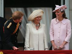 15.06.2013 Kate was pretty in pink in a bespoke Alexander McQueen coat with large pearl buttons for Trooping The Colour.