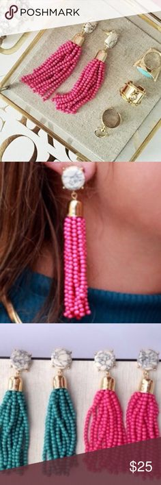 """NWT Hot Pink Beaded Tassel Drop Earrings NWT these earrings will come to you in their own jewelry box for safekeeping. Simple yet dramatic, these elegant tassel earrings will add a pop of color and fun to any outfit. Earrings measure 3"""" in length, post back closure, white faux marble stone with a gold-plated base. Please note, marble patterns may vary. No Trades & No Paypal. Pictures from Pinterest for styling purposes. The Shiny Bauble Jewelry Earrings"""
