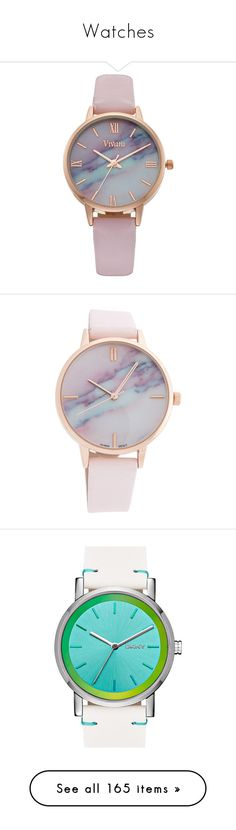 """""""Watches"""" by jennross76 ❤ liked on Polyvore featuring jewelry, watches, accessories, bracelets, pink, buckle jewelry, dial watches, stainless steel watches, imitation jewelry and water resistant watches"""