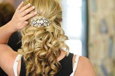 Half up half down with hair piece wedding hair Wedding Hair Half, Wedding Hairstyles Half Up Half Down, Wedding Hair Pieces, Wedding Hair And Makeup, Wedding Updo, Down Hairstyles, Bridal Hair, Hair Makeup, Wedding Stuff