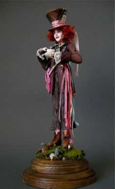 Johnny Depp - Mad Hatter 2 by wingdthing on DeviantArt Johnny Depp Mad Hatter, Alice In Wonderland Room, Clown Paintings, Steampunk Dolls, Mad Hatter Party, Biscuit, West Art, Polymer Clay Dolls, Doll Repaint