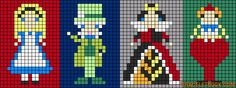 Disney Alice in Wonderland characters (Alice, Mad Hatter, Queen of Hearts, Tweedle Dee, Tweedle Dumb)