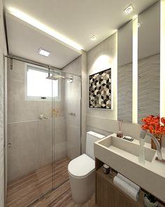 Banheiro de Apartamento estiloso. Madeira e cimento com iluminação no espelho. Projeto por @camilasembla_arquiteta.
