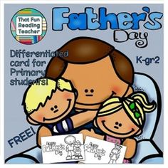 This printable, differentiated & #free #FathersDay card is ideal for kindergarten to grade 2 students to color, fold into a stand and paste or write a message into.