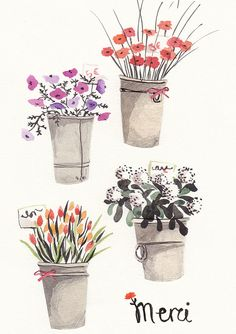 "watercolor flowers | art | print | french ""merci"""