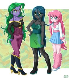 Wavy,chrysalis and fluffle in anime by uotapo deviantart