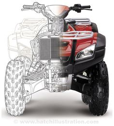 Idea to try: photo fade to line drawings.  Honda ATV Technical Illustration - Technical Illustration - Jim Hatch Illustration