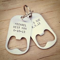 Engraved bottle opener key chains by poptag via Etsy #groomsmengifts