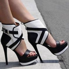 black and white high heel sandals