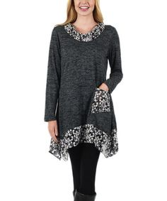 Love this Gray & White Floral Pocket Handkerchief Tunic on #zulily! #zulilyfinds