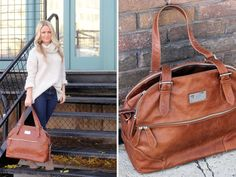 Sweet Little Peanut | Budu Baby Bag. This tan leather diaper nappy bag has many storage compartments, comes with an insulated bottle holder, wipe clean change mat, leather key clip and pram strap. $349. www.budu.com.au