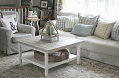 Pottery Barn beachcomber tray basket on Ikea Hack coffee table-www.goldenboysandme.com