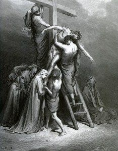 Joseph of Arimathea brings Jesus down from the cross - Picture from The Holy Scriptures, Old and New Testaments books collection published in Stuttgart-Germany. Drawings by Gustave Dore. Gustave Dore, Cross Pictures, Jesus Pictures, Bible Illustrations, Illustration Art, La Passion Du Christ, Immaculée Conception, Joseph Of Arimathea, Biblical Art