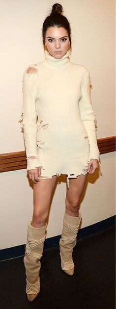 Fashion Faceoff | People - Kendall Jenner in an off-white distressed Yeezy sweater dress and beaded knee-high boots