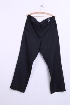 Adidas Mens 38x32 Trousers Black Cotton Clima Lite Golf Sport - RetrospectClothes