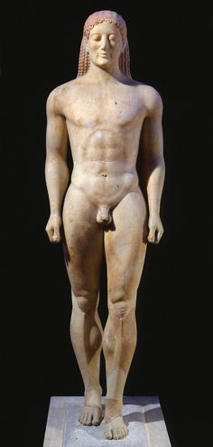 Kroisos, from Anavysos, Greece, ca. 530 BCE.  Marble, 6′ 4″ high.  National Archaeological Museum, Athens.