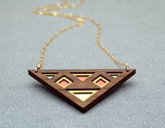 Luxe Layered Triangular Walnut Wood Necklace  l  Bird of Virtue