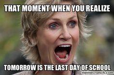 Tomorrow is the last day of school - Lehrer School Tomorrow, End Of School Year, School Life, High School, Teacher Humour, Teacher Stuff, Classroom Humor, Teaching Memes, School Memes