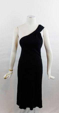 Designer Vintage GIANNI VERSACE GRECIAN One Shoulder Black Cocktail Dress