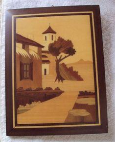 Vintage Sorrento Italy Inlay Wood Marquetry Italian Village Scene Wall Art 6 X 8 #FolkArt