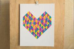 Geometric Heart Wall Art by FMCstudio.