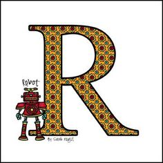 R is for Robot -  New Alphabet Series Letter Images by Sarah Angst Fine Artist & Printmaker - Children's room wall art, baby nursery, kids, unique interior design pieces - available framed and unframed at www.sarahangst.com