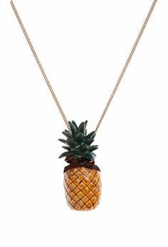 "Hand painted porcelain Pineapple on a 18"" or 24"" antique brass, gold or silver plated brass based necklace.  Also available on a 18"" or 24"" sterling silver necklace."