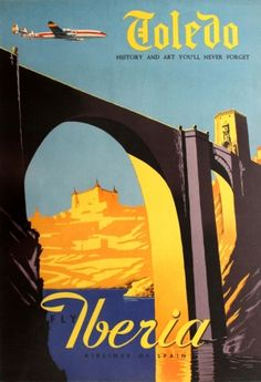Toledo Spain Iberia Lockheed Super Constellation, 1950s - original vintage poster by Rasgo listed on AntikBar.co.uk