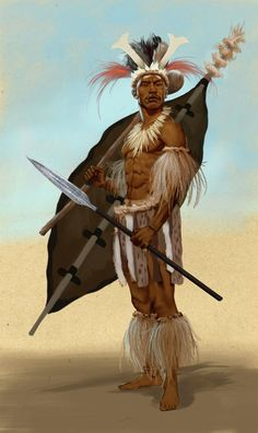 Image result for black african warrior animated