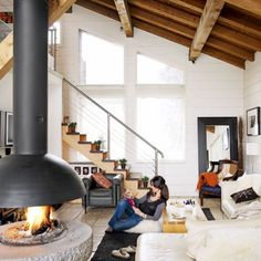 Find modern decorating inspiration from our room-by-room house tour of this romantic alpine chalet. Find decorating ideas from its white-as-snow interior, going against the traditional chalet style of rich wood and earthy hues Living Etc, Living Spaces, Living Room, Cottage Living, Cozy Living, Tyni House, Cob Houses, Apartment Interior Design, Architecture