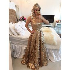 Simple-dress Luxurious A-line Gold Sequins Long 2015 Prom... (330 BAM) ❤ liked on Polyvore featuring dresses, a line dress, gold a line dress, gold sequin dress, gold prom dresses and long gold dress