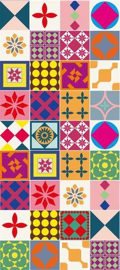 Tecido adesivo azulejo moderno.