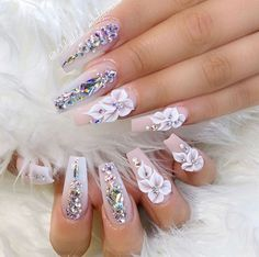36 Awesome Nail Art Design Ideas - Nail designs or nail art is a straightforward idea design or art that is utilized to adorn the finger or toenails. They are utilized predominately to . Bling Acrylic Nails, Glam Nails, Rhinestone Nails, 3d Nail Art, Cute Acrylic Nails, Bling Nails, Nail Nail, Acrylic Art, Bling Wedding Nails