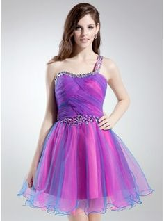 A-Line/Princess One-Shoulder Short/Mini Tulle Homecoming Dress With Ruffle Beading (022008125) - JJsHouse
