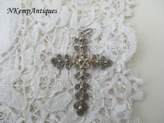 Antique filigree cross real silver by Nkempantiques on Etsy