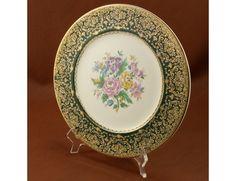 Imperial Salem China Service Plate Gold Floral Vtg