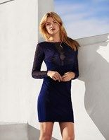 Lipsy Long Sleeve Sheer Lace Midi Dress