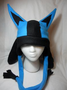 Pokemon Inspired Lucario Fleece Hat MADE TO ORDER by Higginstuff