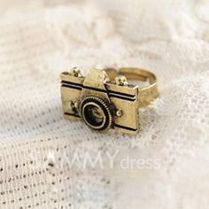 $2.09 Retro Style and Fashion Camera Shape Embellished Ring