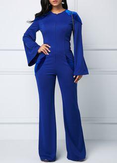 483a12fe66 Royal Blue Keyhole Back Zipper Front Jumpsuit