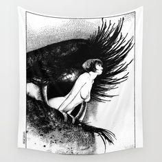 asc 602 - La spectatrice (Valentina at the gallery) Wall Tapestry. #black-white #comics #illustration #love