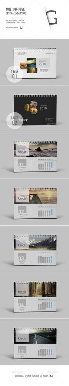 Multipurpose Desk Calendar 2015 Template | Buy and Download: http://graphicriver.net/item/multipurpose-desk-calendar-2015/9673918?ref=ksioks