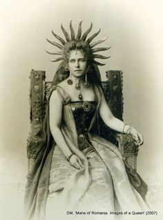 Princess Marie of Romania (1875-1938) dressed as the sun at a fancy ball in Bucharest, Cotroceni palace (October 1896) by photographer Franz Mandy. ty, Tamara Helen. via Diana Mandache