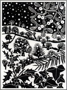 'December' by Carry Akroyd from John Clare's 'The Shepherd's Calendar' (linocut) Linocut Prints, Art Prints, Block Prints, Linoprint, Christmas Art, Christmas Landscape, Xmas, Celtic Christmas, White Christmas