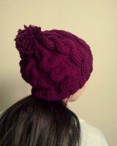 Burgundy Slouchy Pom Pom Beanie Pom Pom Hat by theknittingpool
