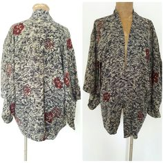 Vintage 60s Kimono Jacket Size Large Silk Haori Robe Coat Ethnic Japanese #Unknown #BasicCoat