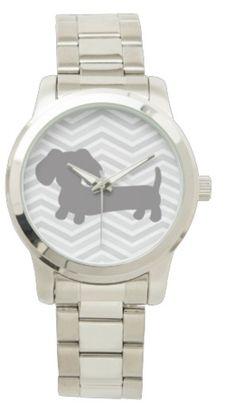 Women's Oversized Stainless Steel Dachshund Watch Bracelet