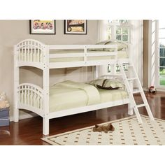 Solid wood twin over twin bunk bed in black finish.
